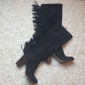 GB Gianni Bini Black Leather Fringe Boots 6M